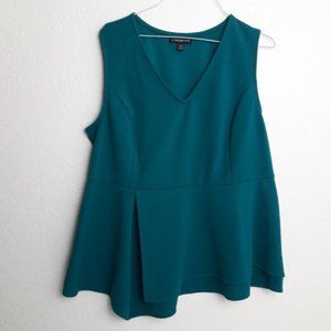 Lane Bryant Peplum Top Blouse 18/20 Emerald Green